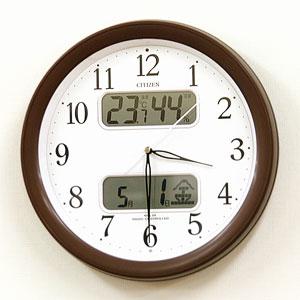 CITIZEN シチズン 電波掛け時計 ネムリーナカレンダーM01(ブラウン)【4fya01006】