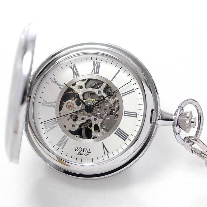 ROYAL LONDON(ロイヤルロンドン) スケルトン懐中時計 両蓋開き 手巻き 90029-01