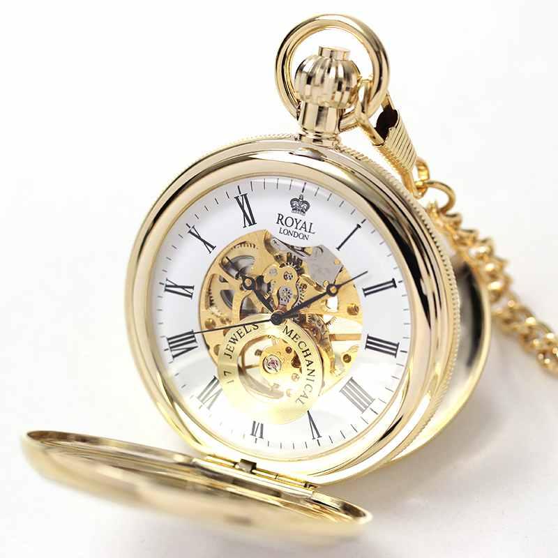 ROYAL LONDON(ロイヤルロンドン) スケルトン懐中時計 両蓋開き 手巻き 90048-02