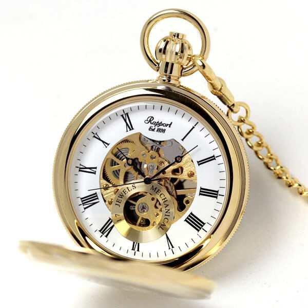 ラポート/Rapport/両開き スケルトンPW48 懐中時計