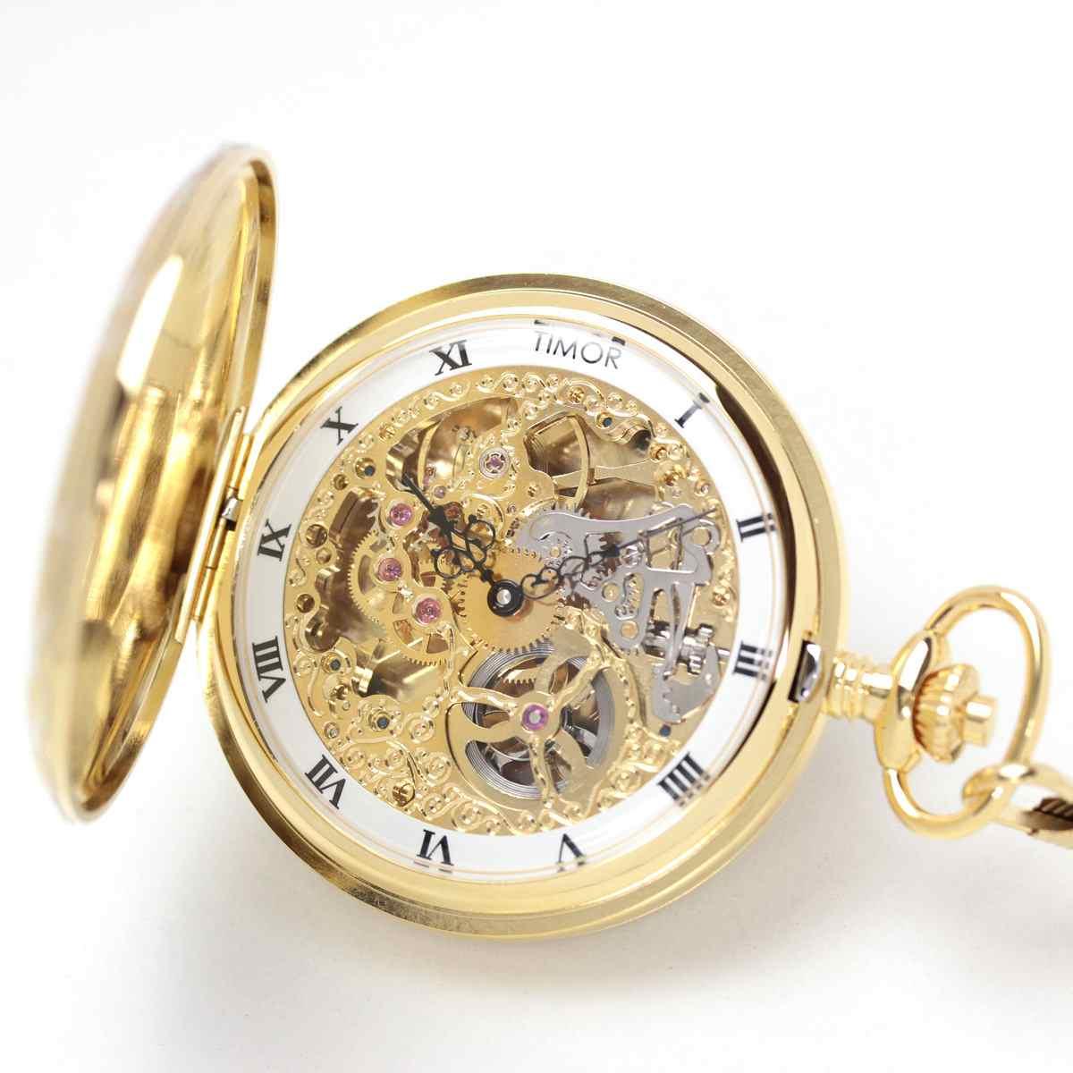 ティモール/TIMOR/フルハンター(両開き)/スケルトン/TP102JA01/ゴールドカラー/懐中時計