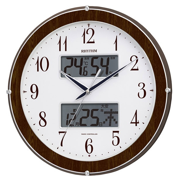 RHYTHM リズム 夜光 電波 掛け時計 ピュアカレンダー622 4FY622SR23 木目仕上