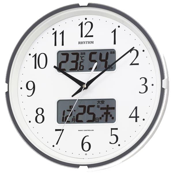 RHYTHM リズム 電波 掛け時計 フィットウェーブリブ 4FYA07SR03 白