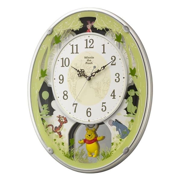 RHYTHM リズム ディズニーキャラクター 電波 アミュージング 掛け時計 くまのプーさんM523 4MN523MC03