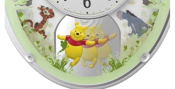 RHYTHM リズム ディズニーキャラクター 電波 アミュージング 掛け時計 くまのプーさんM523 4MN523MC03 飾り振子
