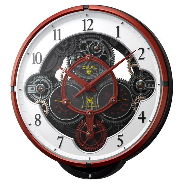 RHYTHM リズム シャア専用デザインモデル 電波 からくり 掛け時計 KARAKURI CLOCK CHAR'S CUSTOM ZEON 4MN534MG01