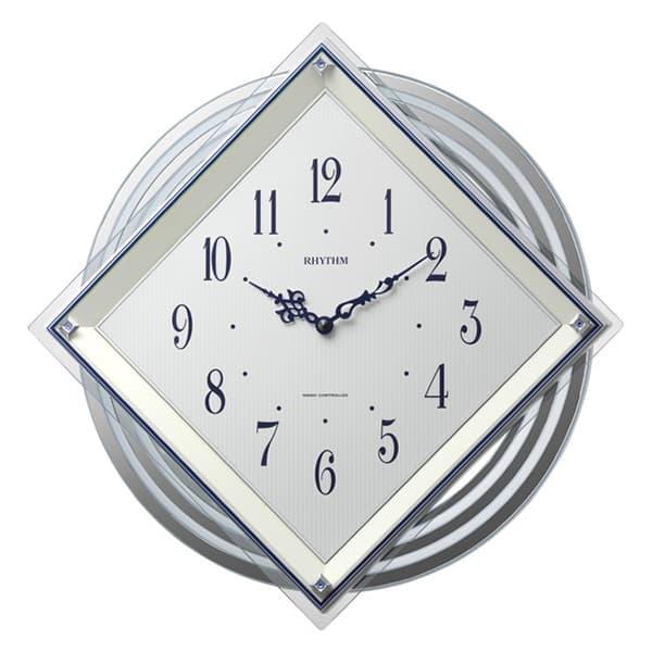 RHYTHM リズム 電波 振り子 掛け時計 ビュレッタ 4MX405SR03 白パール