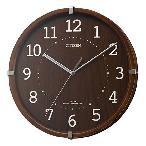 CITIZEN シチズン 木製 電波 掛け時計 シンプルモードアークミニ 4MYA27006 茶
