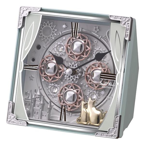 RHYTHM リズム SmallWorld からくり 置き時計 スモールワールドコスモ 4RH784RH04 青