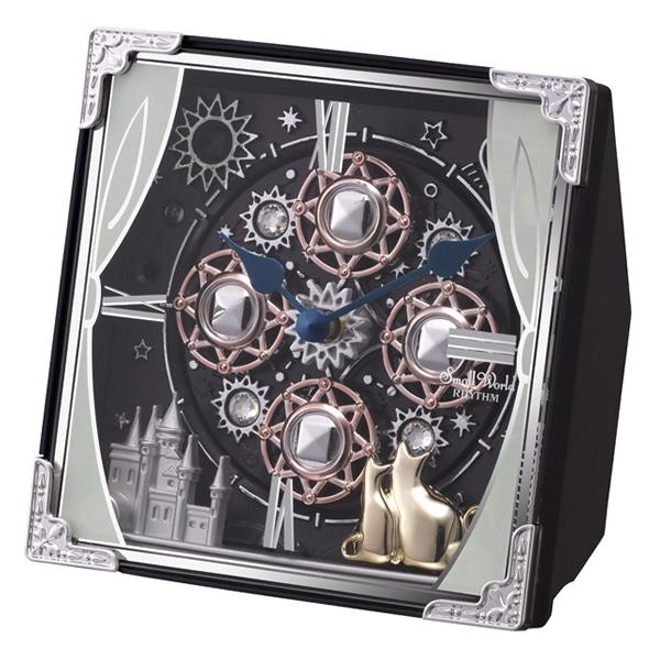 RHYTHM リズム SmallWorld からくり 置き時計 スモールワールドコスモ 4RH784RH11 紺