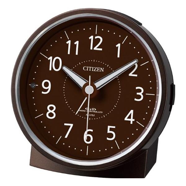 CITIZEN シチズン 夜光 電波 目覚まし時計 エフライトR435 4RL435006 茶メタリック
