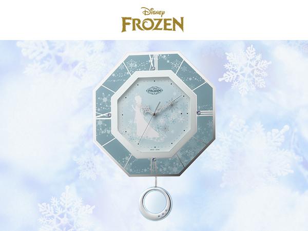 RHYTHM リズム ディズニーキャラクター 電波 振り子 掛け時計 アナと雪の女王 8MX405MC04