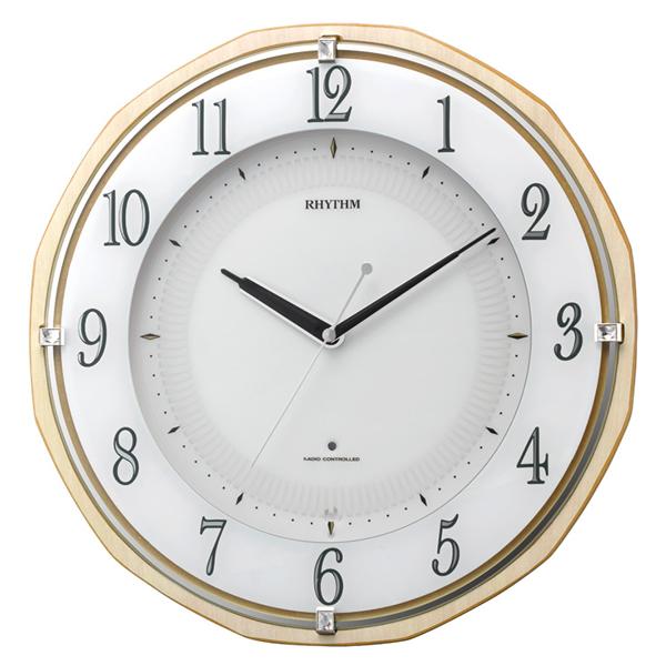 RHYTHM リズム 夜光 電波 掛け時計 リバライトRW496 8MY496SR06 薄茶
