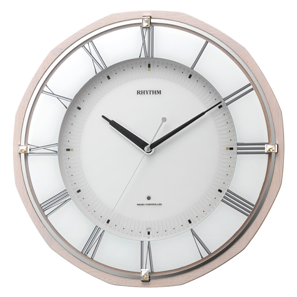 RHYTHM リズム 夜光 電波 掛け時計 リバライトRW496 8MY496SR13 ピンク