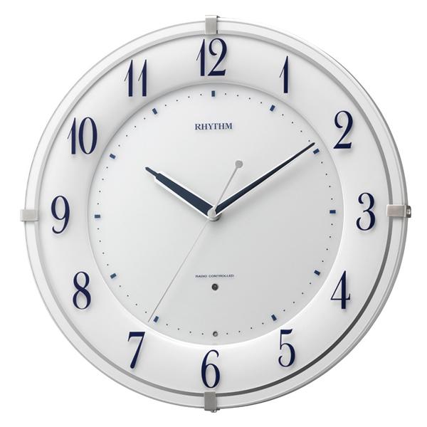 RHYTHM リズム 夜光 電波 掛け時計 リバライトRW497 8MY497SR03 白