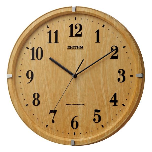 RHYTHM リズム 電波 掛け時計 ライブリーアリス 8MY501SR07 薄茶