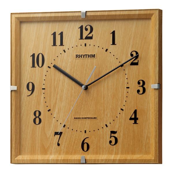 RHYTHM リズム 電波 掛け時計 ライブリーエミリ 8MY502SR07 薄茶