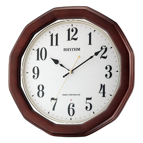 RHYTHM リズム 電波 掛け時計 フィットウェーブハンナ 8MY505SR06