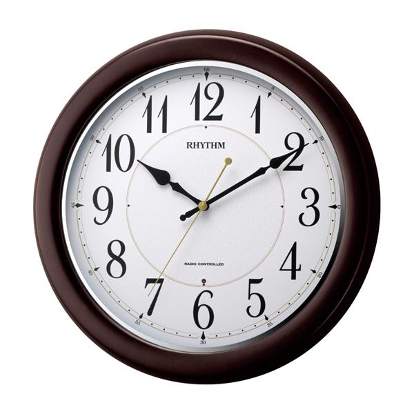 RHYTHM リズム 木製 電波 掛け時計 フィットウェーブコート 8MYA25SR06