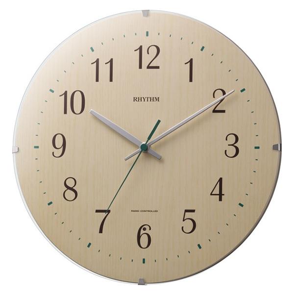 RHYTHM リズム 木製 電波 掛け時計 シンプルモードソレラ 8MYA27SR07 薄茶