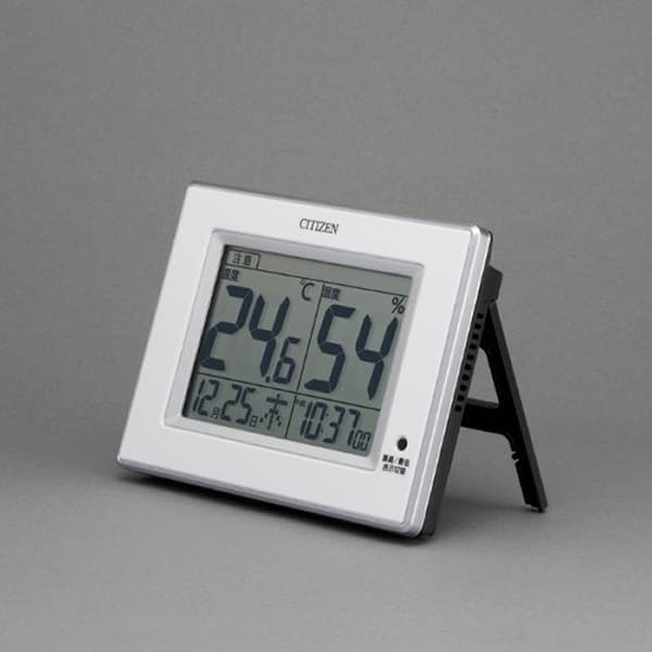CITIZEN シチズン 環境目安表示付 デジタル 掛け置き兼用時計 ライフナビD200A 8RD200A02 黒 置いた状態
