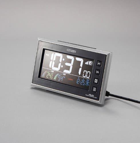 CITIZEN シチズン デジタル 電波 置き時計 パルデジットネオン121 8RZ121002 黒 AC電源アダプター接続時