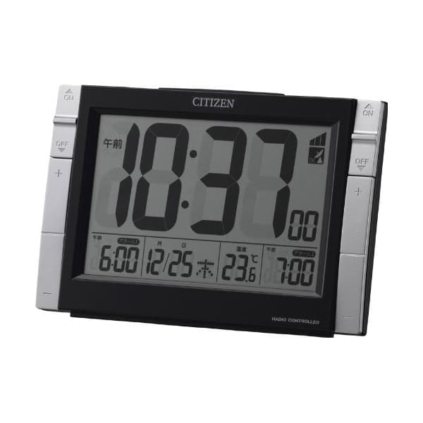 CITIZEN シチズン デジタル 電波 置き時計 パルデジットワイドDS 8RZ150002 黒
