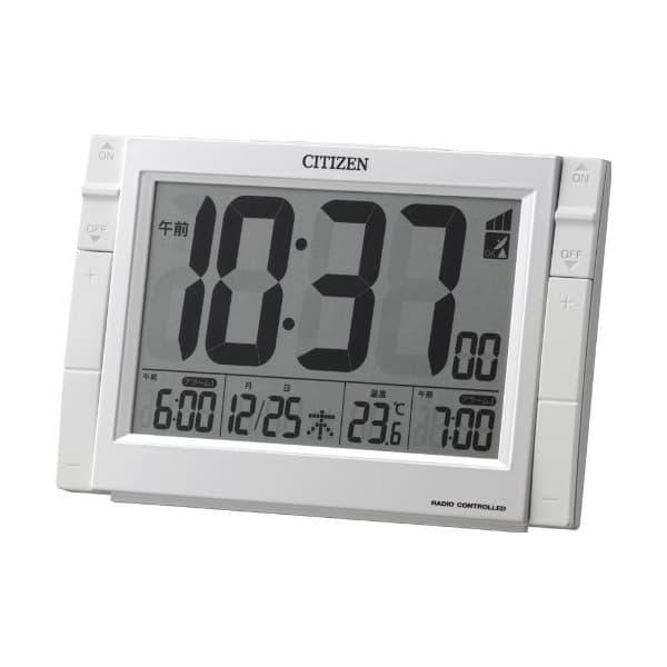 CITIZEN シチズン デジタル 電波 置き時計 パルデジットワイドDS 8RZ150003 白