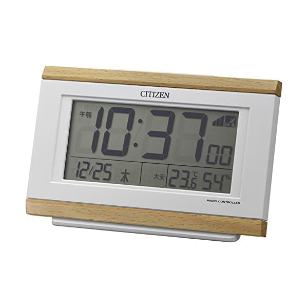 CITIZEN シチズン デジタル 電波 目覚まし時計 パルデジットキング 8RZ161007 薄茶