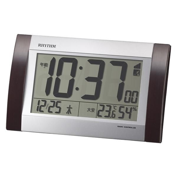 RHYTHM リズム デジタル 電波 掛け置き兼用 目覚まし時計 フィットウェーブD169 8RZ169SR23 置いた状態