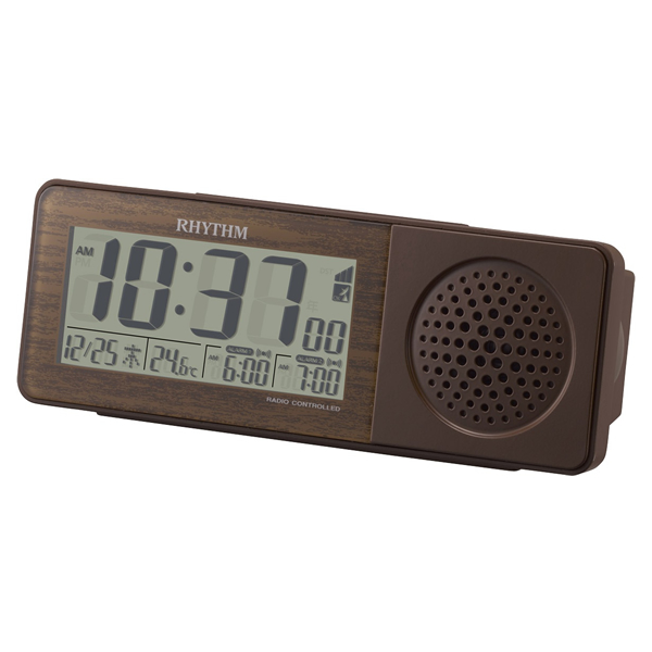 RHYTHM リズム 大音量アラーム デジタル 電波 目覚まし時計 スーパークリアトーンレッツRW 8RZ171SR06 茶