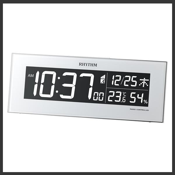 RHYTHM リズム デジタル 電波 掛け置き兼用時計 Iroria(イロリア) 8RZ173SR03 白