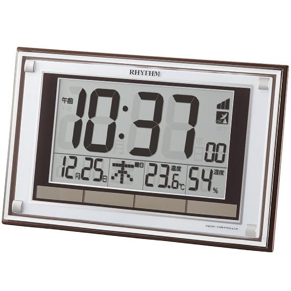 RHYTHM リズム デジタル 電波 掛け置き兼用 目覚まし時計 フィットウェーブD169 8RZ169SR23