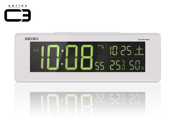 SEIKO セイコー デジタル 電波 置き時計 シリーズC3 DL205W 白