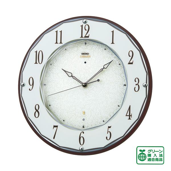 SEIKO セイコー 薄型電波掛け時計 エムブレム【HS524B】