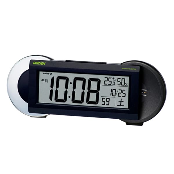 SEIKO セイコー PYXIS 大音量アラーム 電波 目覚まし時計 ライデン NR533K 黒メタリック