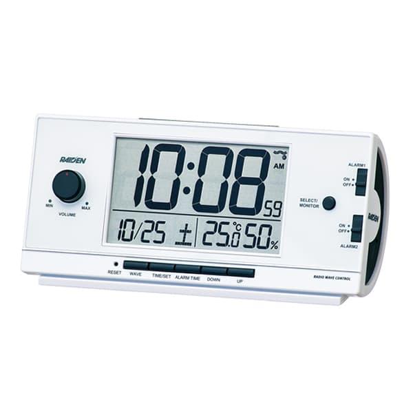 SEIKO セイコー PYXIS 大音量アラーム 電波 目覚まし時計 ライデン NR534W 白パール