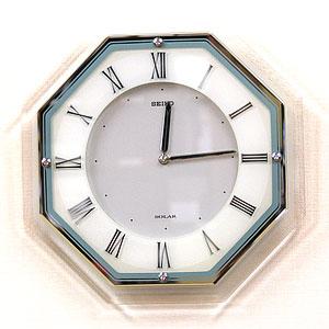 全面高透過カットガラス張りの8角型掛け時計