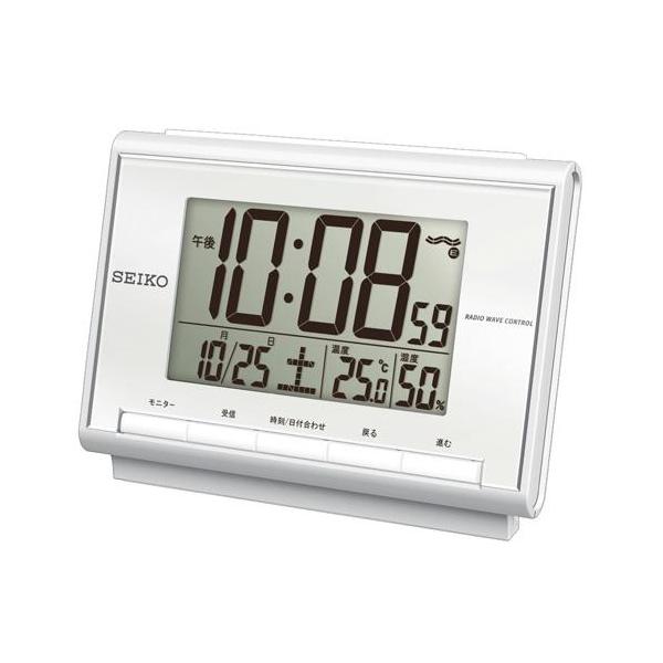 セイコー(SEIKO)温湿度表示付きデジタル電波クロック置き時計 SQ698S