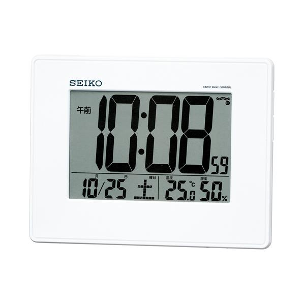 セイコー(SEIKO)温湿度表示付きデジタル電波クロック掛け置き時計 SQ770W